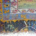 Tappeto antico tarmato turco trieste- dopo di lavaggio ho messo tappeto su telaio e cominciato riannodare con suo tecnico di lavorazione e usando lana vecchio con colori naturali come originale