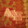Riparazione kilim antico, rovinato con tarme ho messo tutti orditi mancanti