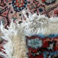restauro tappeto trieste, tappeto persiano birjand lavorazione fine lana misto seta nuovo rovinato angolo tramite un cane