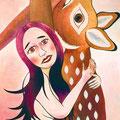 とまどいながらも鹿を抱く 2008年 キャンバスにアクリル 41×32cm
