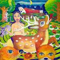 僕は鹿になって世界に恋をする 2010年 キャンバスにアクリル 130×130cm
