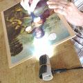1日体験の午後の作業 美的修復の練習板-gesso成形