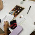 5日コースの午後の作業-DAY1 これから修復する絵の状態調査