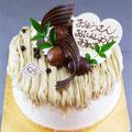 特注ケーキ 秋限定モンブランをホールケーキで