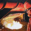 """""""Herr des Feuers"""", 40 x 40 cm, Acryl auf Leinwand, 2007"""
