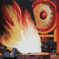 """""""Flammender Ofen"""", 40 x 40 cm, Acryl auf Leinwand, 2007"""