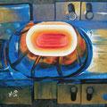 """""""Glühende Kettenglieder"""", 40 x 40 cm, Acryl auf Leinwand, 2007"""