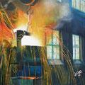 """""""Funkenregen"""", 40 x 40 cm, Acryl auf Leinwand, 2007"""