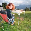 Herrliche Aussicht auf die Bergketten der Pyrenäen