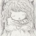 「少女と鳩」鉛筆/水彩紙14.8×10cm(ご売約済み)