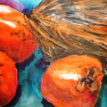 Kokosnuss mit Kakifrüchten, 2008, 36 x 48cm, Aquarell