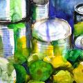 Blechdosen mit Zitrusfrüchten II, 2001, 50 x 65cm, Aquarell