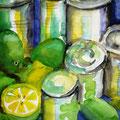 Blechdosen mit Zitrusfrüchten, 2002,48 x 56cm, Aquarell