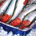 Heringe vom Fischmarkt, 2003, 50 x 65cm, Aquarell