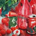 Rotes Küchenstillleben, 2003, 36 x 48cm, Aquarell