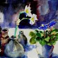 Steinzeug mit Veilchen, 2010, 24 x 32cm, Aquarell