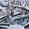 Winterimpressionen, 2009, 24 x32cm, Aquarell, Ölkreide