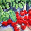 Cherrytomaten mit Basilikum, 2003, 36 x 48cm, Aquarell