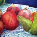 Früchte auf dem Küchentuch, 2009, 36 x 48cm, Aquarell