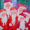 Weihnachtsmänner, 2006, 30 x 40cm, Ölspachtel