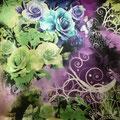"""Tissu """"Arabesques fleuries"""" (léger et soilleux)"""
