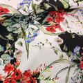 Tissu blanc & noir fleuri (coton très leger et doux)