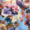 Tissu bleu fleurs (coton élastane imprimé)