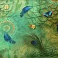 """Tissu """"Paon et papillon"""" (coton doux imprimé)"""