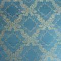 """Tissu """"Art nouveau"""" bleu et doré (cotton doux imprimé)"""
