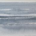 """""""Strand"""" #20, aquarel, pastel op papier / 13x40cm"""