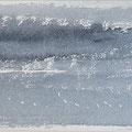 """""""Strand"""" #13, aquarel, pastel op papier / 13x40cm"""