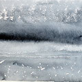 """Strand"" #7, aquarel, pastel op papier / 15x30cm / Private collection in the Netherlands"