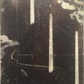 2011 F6号 電信柱 パネルに和紙、銀箔、透明水彩、アクリル絵具