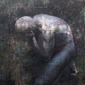 2009 F100号 隙 パネルに和紙、岩絵具、墨、銀箔、アクリル絵具