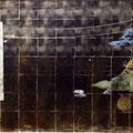 2012 922×1941mm 嘯く パネルに高知麻紙、銀箔、岩絵具、アクリル絵具