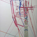 2011 F50号 電信柱 パネルに和紙、岩絵具、アクリル絵具