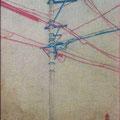 2011 132×92mm 電信柱 板に和紙、岩絵具、アクリル絵具