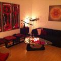 Lebendiges Mandala in Privaträumen, Textildruck auf Keilrahmen, Format 85 x 85 cm © Susanne Barth