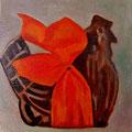 poule en chocolat huile sur panneau toilé 15cmx15cm