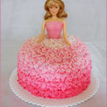 Ruffled Barbie cake