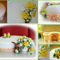 Oster-Torte mit Gänseblümchen und Narzisse