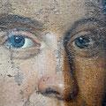 Ausschnitt des Portraits des Ahasverus Püll während der Firnis-und Übermalungsabnahme, Museum Burg Linn Krefeld