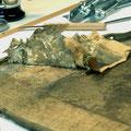 Schichtweise Entdeckungen in Form früherer Ausbesserungsmaßnahmen an einem Bildträger des frühen 18. Jahrhunderts aus Privatbesitz