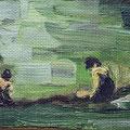 """Detailaufnahme eines Gemäldes des anfänglichen 20. Jhs. """"Damen am Seeufer"""""""