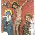 Kreuzigung: Zwischenzustand nach Kittung, unterer Mittelflügel des Clarenaltars im Kölner Dom, um 1350