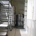 Zwischenzustand während der Bearbeitung der Beuys-Fenster im KWM