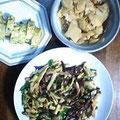 牛肉 ピーマン筍の細切り炒め だし巻き卵 筍の煮物