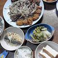 野菜炒め 鶏唐揚げ