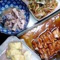 鶏の甘酢かけ 野菜炒め 出汁卵焼き