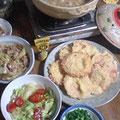 ハムカツ レタスサラダ 豚野菜炒め 豚汁